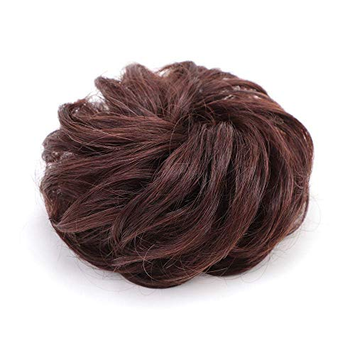 Violet Hair Bun Extensions 100% Human Hair Curly Messy Hair Wedding Hair Piece For Women Updo Ponytail Scrunchies Donut Chignons(Dark Brown)