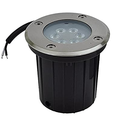 LEDwholesalers Low Voltage In-Ground LED Well Light with Brushed Stainless Steel Trim