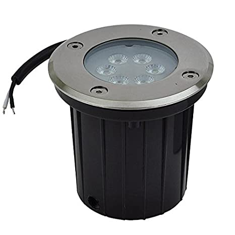 LEDwholesalers Low Voltage In-Ground LED Well Light with Brushed Stainless Steel Trim 3-Watt 3731
