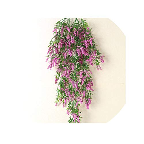 Sweet-Candy artifical flowers 80cm Artificial Lavender Artificial Plants Green Garland Plants Vine Fake Foliage Home Christmas Wedding Decoration,Rose ()