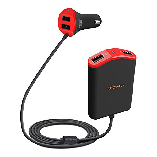 iGOKU Car Charger USB 4 Ports 48W 9.6A with Built-in Fuse, Designed for Front and Back Seat, Quick Charge, Smart Identification for iPhone, iPad, Galaxy, Note, Nexus, HTC & More