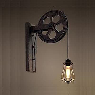 Kiven Industrial Pulley Wall Sconce Steampunk Wall Light Rustic Lighting