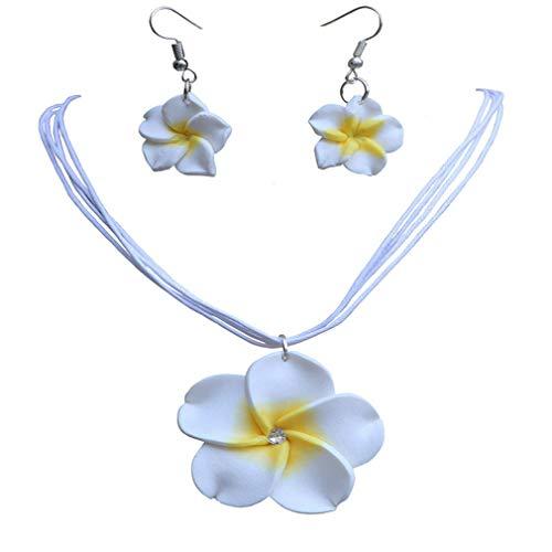 (AMGJ 18 Colors Women Jewelry Sets Hawaii Plumeria Flower Pendant Necklace)
