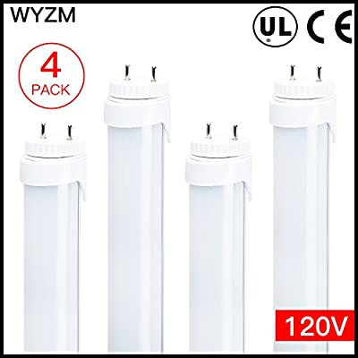 """120V Input 4-Pack of 7Watt F15T8 LED Tube Light-18"""" (17-3/4"""" pin to pin),Daylight 5500K,Double-End Powered, Frosted Cover"""