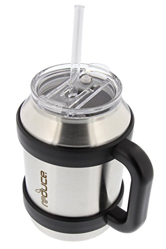 52 Ounce Keg - Stainless Steel Large 50oz Cold-1 Thermal Coffee & Water Mug by REDUCE - Dual Wall Vacuum Insulated Mug - Perfect for Hot & Cold Drinks - Includes Straw, Leak-Proof Lid and Handle, Stainless