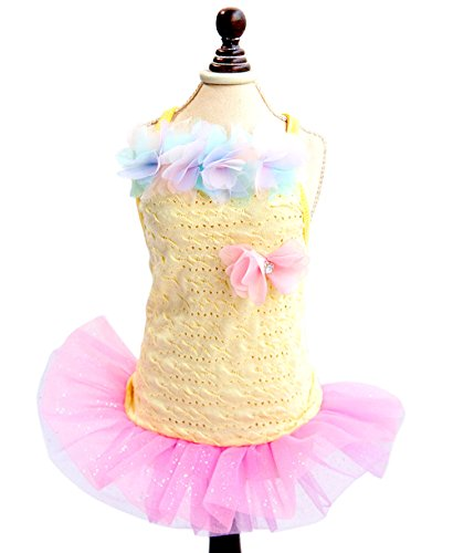 SMALLLEE_LUCKY_STORE Pet Small Dog Puppy Cat Clothes Coat Costume Cotton Summer Strap Dress Tutu Flower Trim Yellow XS
