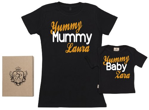 (SR - Gift Boxed Mum & Kids Gift Set - CUSTOM Yummy Mummy & Baby Organic Matching Mother & Baby T-Shirts - Black - Large & 11-12 Yrs)
