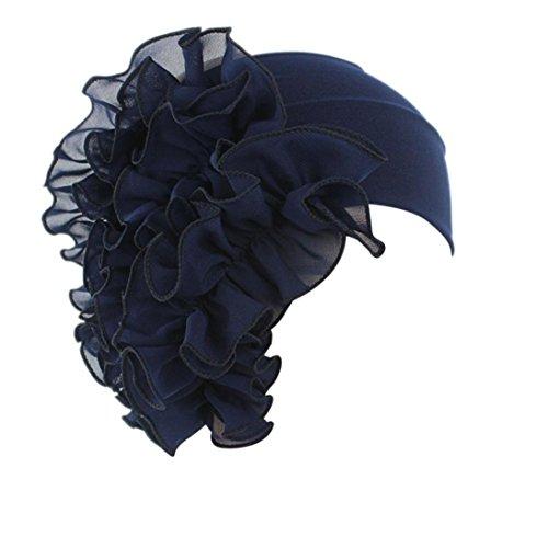 Sunyastor Summer Women Flower Cancer Chemo Hat Beanie Scarf Turban Head Wrap Cap Headband Shower Cap (Navy, One Size) ()