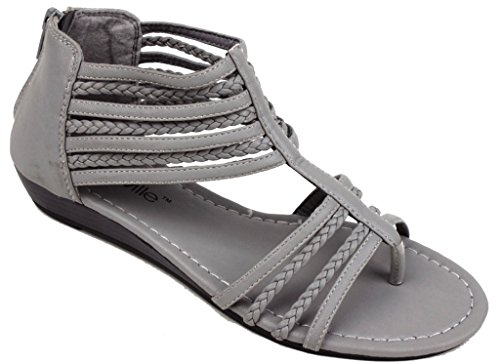 Hazel's Star Braided Straps Gladiator Sandal with Back Zip Closure and Padded Insole, Gray, 10 (M) US Gray Womens Sandals
