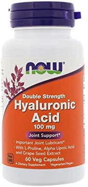 Now Supplements, Hyaluronic Acid 100 mg, Double Strength with L-Proline, Alpha Lipoic Acid and Grape Seed Extract, 60 Veg Capsules