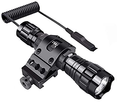 CVLIFE Tactical Flashlight High Lumen T6 LED Light with Remote Switch Picatinny Rail Mount as Outdoor Hunting Shooting Flashlight, Rechargeable 18650 Battery Included