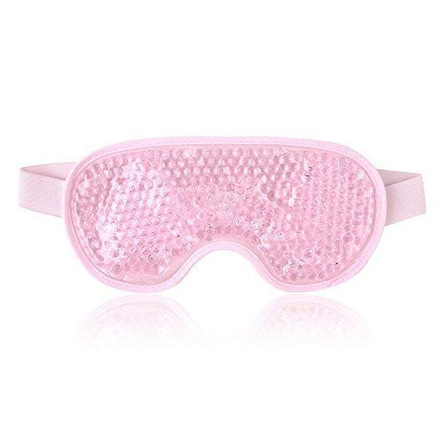 (Reusable Eye Mask with Gel Beads for Hot Cold Therapy, Flexible Cold Eye Mask for Swollen Eyes, Dry Eyes and Headache Relief - Pink)