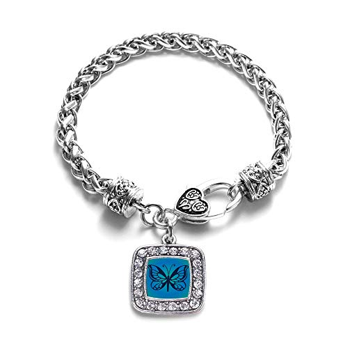 Inspired Silver - Blue Butterfly Braided Bracelet for Women - Silver Square Charm Bracelet with Cubic Zirconia Jewelry