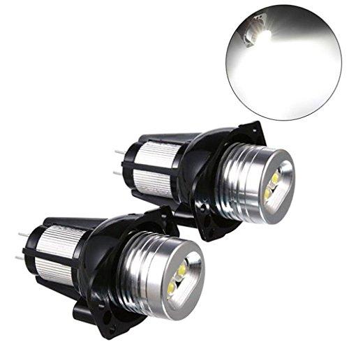 Quaanti Car LED Light,2 PCS E90 Angel Eyes Halo Ring LED Light 6W Marker Bulb Xenon White for BMW Drop Shipping (Black)
