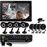 Q1C1 4-Channel H.264 DVR With 4 X 480 TV Lines IR Night Vision Camera System Kit with 500GB Hard Drive (monitor...