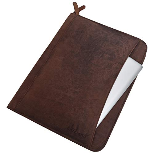 Leather Business Portfolio Padfolio Zippered - Original Premium Leather Document Holder Business Case - Made in India (Tan Brown) (Best Business For Womens In India)