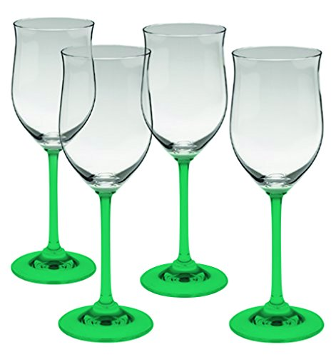 Marquis by Waterford Young Crystal White Set of 4 Wine Glasses - Bottom Color Emerald Green - Additional Vibrant Colors Available by TableTop King - Emerald Marquis