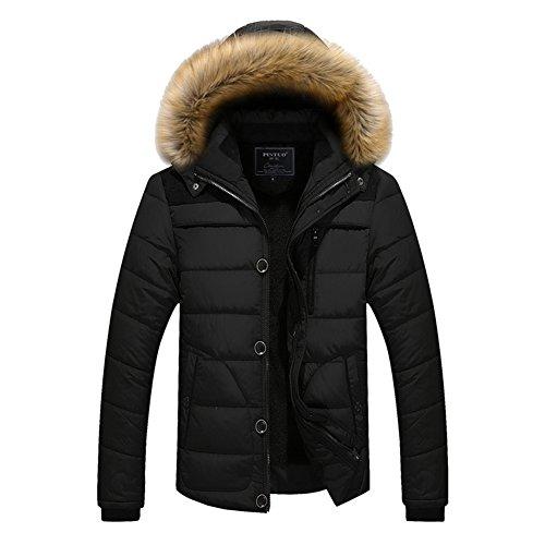 Men Hooded Jacket Winter Coat Parka Jacket Sweater Jacket with Removable Hat Cotton Padded Coats Red Black Blue Khaki M-5XL Kootk Black