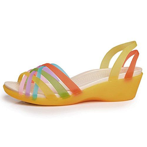 Enllerviid Kvinnor Öppen Tå Strappy Gelé Kilar Sandaler Färg Ihåliga Ut Sommarskor Gul