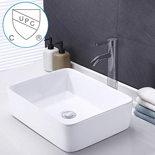 KES Bathroom Vessel Sink 19-Inch White Rectangle Above Counter Countertop Porcelain Ceramic Bowl Vanity Sink cUPC Certified, BVS110 (Best Stone For Bathroom Countertop)