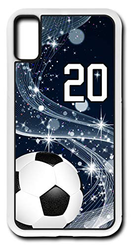 iPhone X Case Soccer SC005Z Choice of Any Personalized Number Phone Case by TYD Designs in White Plastic with Team Player Jersey Number 20