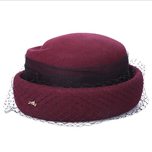 Top Hat Otoño Mujer Cap ocio l Happy Cap Jujube Malla Nueva Lana Red Size Invierno L Retro color Banquete Pequeño Campana Red Fashion Sombrero zfvxqS