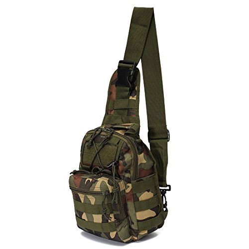 SODIAL strap bag bag Backpacks Hiking backpack Digital Camouflage bicycle ACU R Forest shoulder Camping Single Shoulder strap 8qxgrS8w
