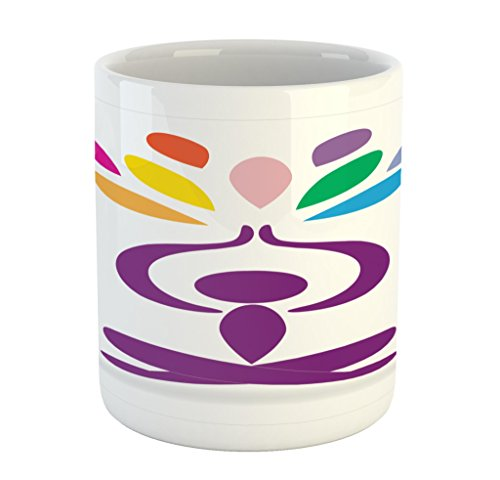 Lunarable Yoga Mug, Meditation and Wellbeing Concept Man in Lotus Pose with Rainbow Colored Drop Shapes, Printed Ceramic Coffee Mug Water Tea Drinks Cup, Multicolor by Lunarable
