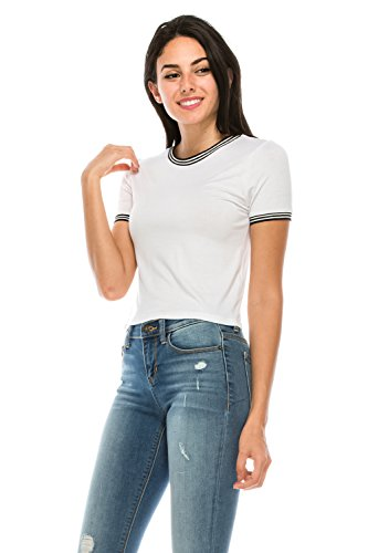 Girl Junior Ringer T-shirts - The Classic Women Short Sleeve Crew Neck Fitted Striped Crop Ringer Tee Shirt (Medium, White)