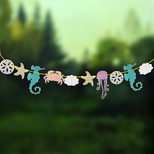 (Tinksky Hawaiian Luau Garland Seahorse Jellyfish Seashell Crab Sea Star Glitter Banner for Summer Pool Birthday Party Decoration)