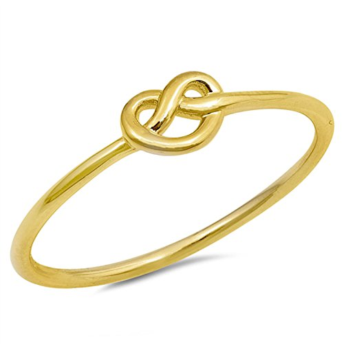 Gold-Tone Infinity Heart Love Knot Ring New .925 Sterling Silver Band Size 7 (Best Friend True Love Ring)