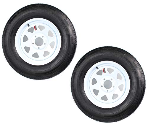 2-Pack Radial Trailer Tire On Rim ST205/75R15C 15X5 (5 Lug On 4.5) White Spoke