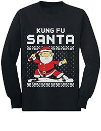 Kung Fu Santa Ugly Christmas Sweater Funny Toddler/Kids Long sleeve T-Shirt