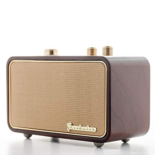Retro Bluetooth Speaker, TRENBADER.COM Vintage Radio for Home Indoor, Wooden Vintage Style, Rechargeable Portable Speaker, Customizable Christmas Souvenir for Father Elder Old People, 2500mAh, Mic (Vintage Tv Unit Looking)