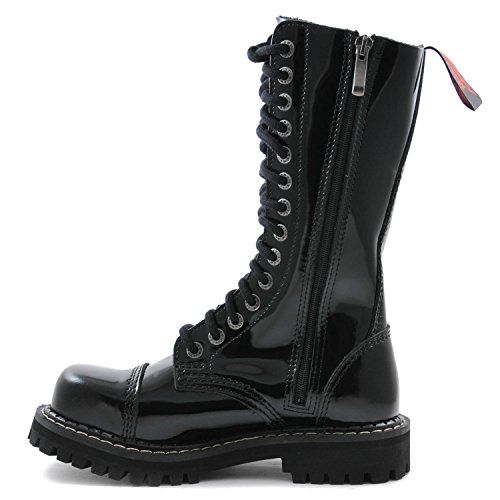 Angry Itch - 14-agujeros botas goticas punk de charol cuero nero con ziper - Numéros 36-48 - Hecho in EU!