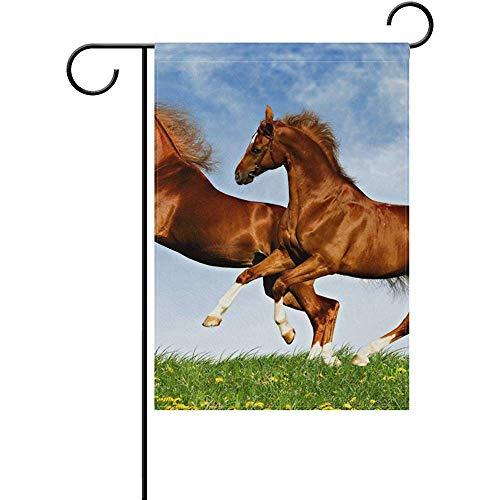 Snabeats Garden Flag- Two Horses Frolic On The Plain Polyester Garden Flag Outdoor Flag Home Party Garden Decor 12 x 18 ()