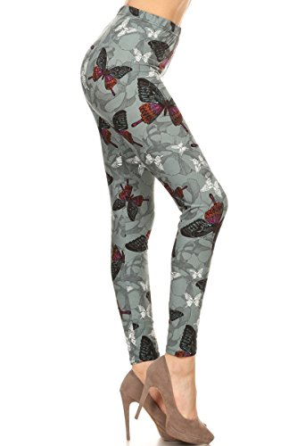 R783-PLUS Butterfly Charm Print Fashion Leggings -