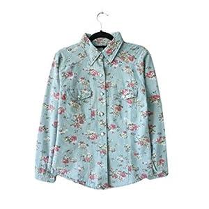 queenneeup Women's Flower Print Denim Shirt, Sky Blue
