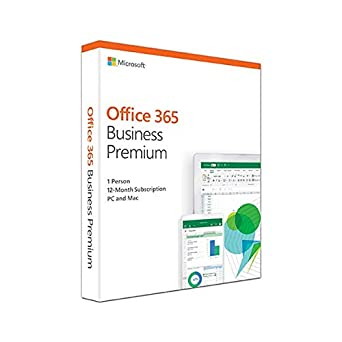 Microsoft Office 365 Business Premium | 1 user | up to 5 PCs (Windows  10)/Macs + 5 phones + 5 tablets | 1 year | box