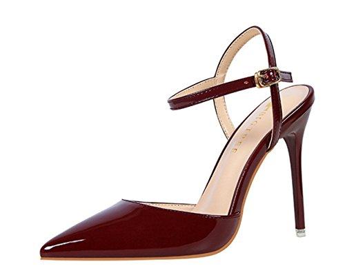Manyis Fashion New Women Scarpe A Punta Stiletto Scarpe Da Sposa Cinturini Alla Caviglia Sandali Tacchi Alti Da Donna Scarpe Da Festa Vino Rosso Us 3