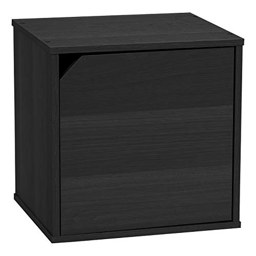IRIS USA, CQB-35D, Modular Wood Storage Cube Box with Door, Black, 1 Pack