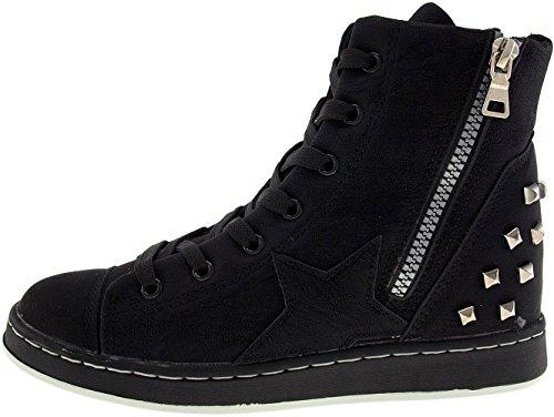 Hidden PU Ankle Black Heel 20H Maxstar Women's Boots Studed Axw6UvnHCq
