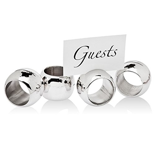Godinger Silver Art 2-in-1 Hammered Stainless Steel Napkin Ring & Place Card Holder