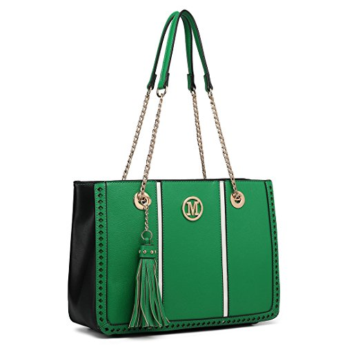 Miss Lulu Block Design Tassel Shoulder Bag Pu Leather Chain Women Handbags with Front M Logo Green