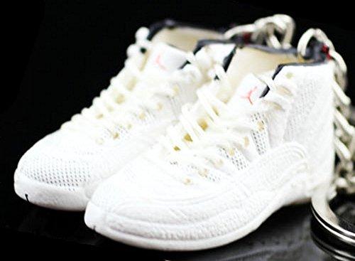Air Jordan XII 12 Retro Rising Sun All White OG Sneakers Shoes 3D Keychain Figure ()