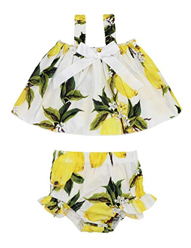 Toddler Baby Girl Floral Halter Ruffled Outfits Set Strap Crop Tops+Short Pants 2 PCS Clothes Set for 6-12 Months Yellow ()