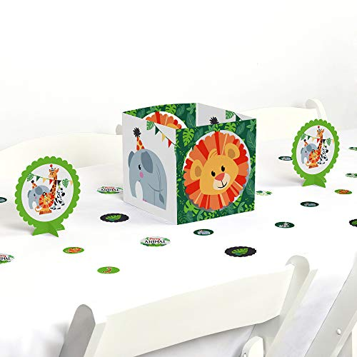 Big Dot of Happiness Jungle Party Animals - Safari Zoo Animal Birthday Party or Baby Shower Centerpiece & Table Decoration -