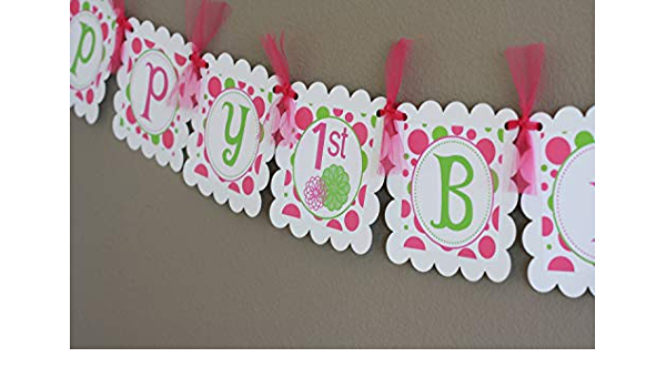 Custom Pink and White Happy Birthday Banner With Name Birthday Party Banner Polka dot Party Available polka dots in separate listing