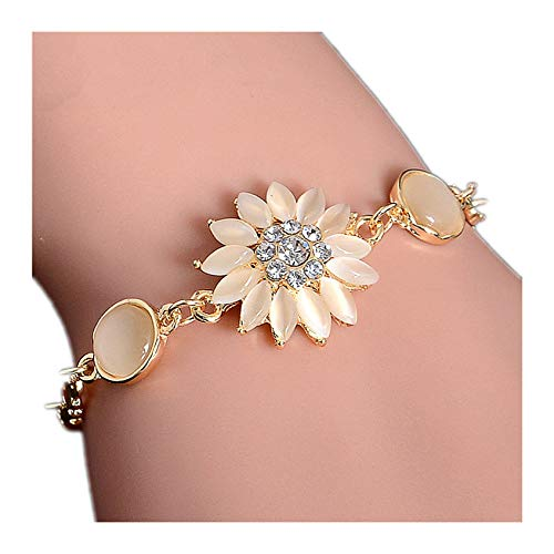 xiaoxiaoland Gold Color Cat Eye Flower Chain Bracelet Jewelry