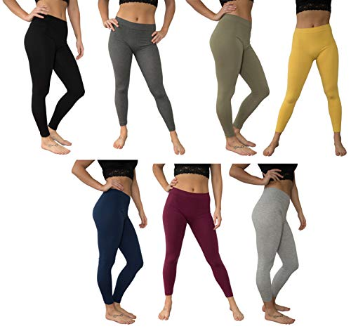 f9bd87dc225db5 JOTW 7 Pack of Basic Comfy Seamless Stretch Leggings for Women - One Size